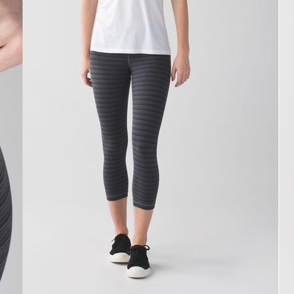 94fb4d3fd lululemon athletica Pants - Lululemon Wunder Under Crop Textured Stripe  Coal 6